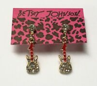 Betsey Johnson Earrings Guitars Gold Red Clear Crystals Gift Box Organza Bag