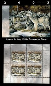 NUNAVUT #4M 2002 GREY WOLF CONSERVATION STAMP MINI SHEET OF 4 IN FOLDER