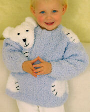 "Teddy / Polar Bear ""Hug"" Baby Childrens Sweater 24""- 30"" Chunky Knitting Pattern"