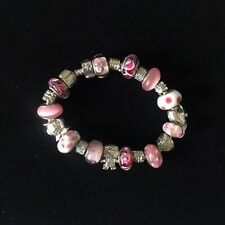 Pink Glass Beaded Silver Tone Fish Girl Love Charm Style Rope Bracelet Gift
