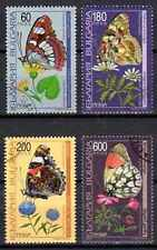 Papillons Bulgarie (2) série complète de 4 timbres oblitérés