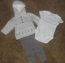 Girls Carter's NWT 3 piece gray and white microfleece set size 3 months