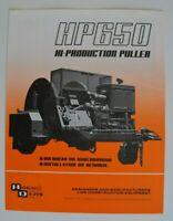 HOGG and DAVIS HP650 Hi-Production Puller 1986 dealer brochure - English - USA