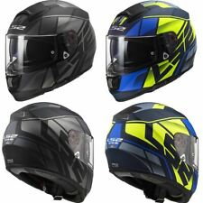 LS2 FF397 Vector Kripton Fibra de Vidrio Motocicleta Scooter Crash Casco Negro Azul
