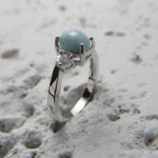 Larimar Ring in solid 925 Sterling Silver #0394 Size 5 3/4, Size L, Size 51 Blue