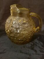 "Vintage Retro Round Amber Gold Bubble Heavy Glass Tea Drink Pitcher 8 1/2"" Tall"