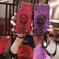 for iPhone Xs Max Xr 8 7 Bling Diamond Stand Plush Ball Strap Glitter Case Cover
