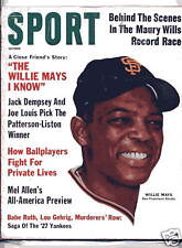 1962 SPORT magazine baseball Willie Mays San Francisco Giants Babe Ruth, Gehrig