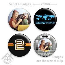 BBC TV Test card LOGO - Life on Mars - RETRO - Set of 4 x 25mm Badges - Set 1
