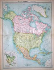 """1920 LARGE MAP ~ NORTH AMERICA POLITICAL ~ 23"""" x 18"""""""