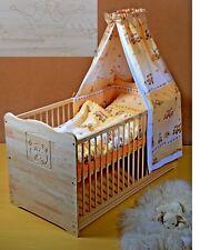 Gitterbett Set Babybett Komplett Kinderbett Massivholz GRAVUR-KRONE 5 Farben