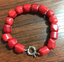 New Natural Red Coral Cylinder Gemstone Beads Bracelet 7.5'' AA++