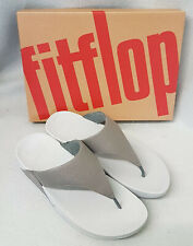 New Fitflop Lulu Shimmer Pewter Silver Grey PU ToePost Ladies Sandals Box Sz 6.5