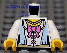NEW Lego Female PRINCESS MINIFIG TORSO - White Blue Girl Dress Shirt w/Pink Bow