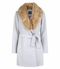 NEW LOOK Teens Grey Wrap Front Faux Fur Collar Coat SIZE 14 - 15 YEARS BOX8710 D