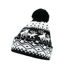 Men's Running Deer Christmas Holiday Warm Beanie Acrylic Winter Hat with POM