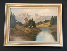 Paesaggio presso Mittenwald. Originale vecchio Dipinti a olio autografato K.