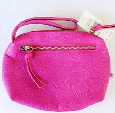 ROXY Ladies Madam Embossed LEATHER Hot Pink Wallet Purse Wristlet Hand Bag *$70