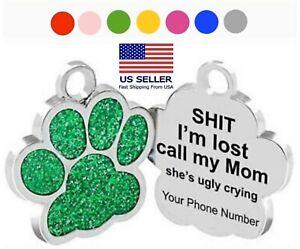 Custom Engraved Tag Pet ID PAW PRINT GLITTER DOG CAT FREE SPLIT RING