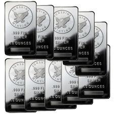 10 oz Sunshine Silver Bars - 100 oz Total .999 fine (New, Lot of 10)