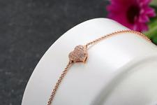 Bracelet Femme Fin Coeur Pavage Cristaux et Plaqué Or Rose - Bijoux des Lys