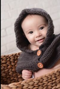 Baby Knitted Cowl Neck Hat Small Shop Handmade Brown Photo Prop 0-6 Months