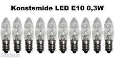 10x LED 0,3W Konstsmide Riffelkerze Topkerze Spitzkerze Ersatz Glühbirne ww klar