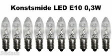 10 LED Riffelkerzen E10 14-55V 0,3W 10V 12V 16V 23V 34V 48V 55V Topkerzen Kerze