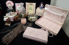 lot of vintage Ladies Vanity Items Perfume Bottle Leather Gloves Decor Purse