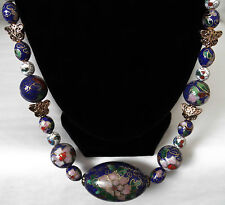 Gorgeous Vintage Chinese Cloisonné Focal Bead Blue White Cloisonné Brass Beads