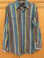 Polo Ralph Lauren Men's Medium Western Shirt Plaid Pearl Snap Multicolor