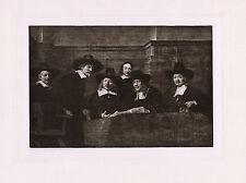 "Attractive REMBRANDT 1800s Antique Print ""The Sampling Officials"" FRAMED COA"