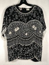 Vintage Patra Silk Beaded Top, Size 16