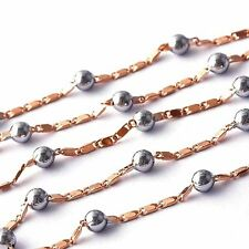womens Rose Gold Filled Silver Bead Necklace Flat Curb Link chain 440*3mm