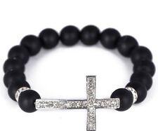 3pcs/lot 10mm micro pave Disco Ball Crystal Shamballa Bead bracelet white cross