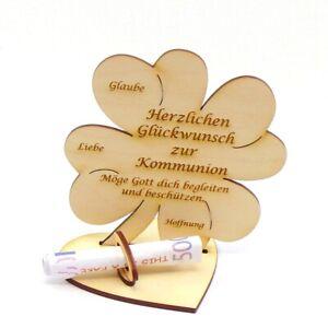 Zur Kommunion, Geldgeschenk Geldscheinhalter Holz 11 cm Kleeblatt Kirchlich