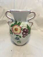 Deruta Ceramic Flower Vase Italy 2.6011 Hand Painted Floral Grapes