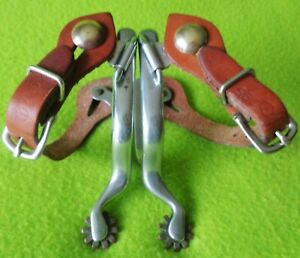 ROY Robinson Vintage Maker Marked Stainless SPURS & CIRCLE Y Straps~GREAT Cond