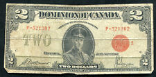 "1923 $2 TWO DOLLARS DOMINION OF CANADA BANKNOTE ""RED SEAL"""