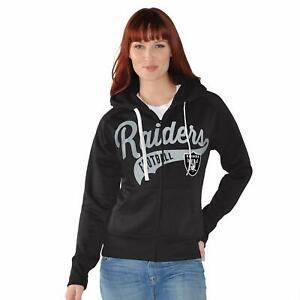 G-III 4her Las Vegas Raiders Women's Game Day Full Zip Hoody Sweatshirt - Black