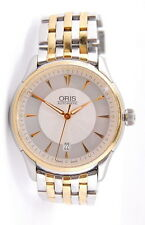 TWO TONE STAINLESS STEEL ORIS AUTOMATIC DATE 7591 SKELETON CASE BACK WRIST WATCH