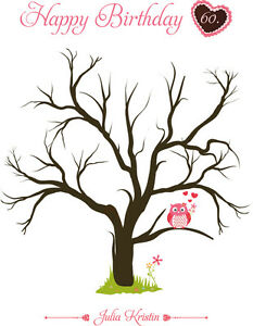 Fingerabdruck Leinwand  Geburtstag | Fingerabdruck Baum | inkl. Stempelkissen