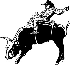Bull Riding Decal WRA #1 Western Rodeo Truck Window Stickers