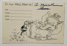 Antique Elephant Shower Invitation Hope You'll Drop in! Blank Watering Can Dumbo
