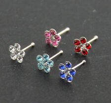 5 pcs of 22G 6 mm Long 925 Sterling Silver 5 mm Flower Nose Bone Ear Tragus Stud