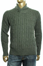NEW TOMMY HILFIGER CABLE KNIT SHAWL COLLAR WOOL COTTON BLEND PULLOVER SWEATER