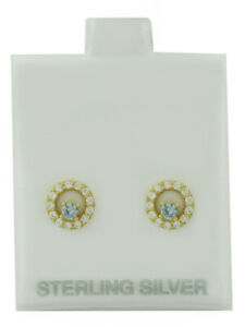 AQUAMARINE & WHITE SAPPHIRES STUD EARRING .925 Sterling Silver  * NEW WITH TAG *
