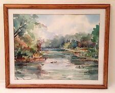 Vintage DUCK POND WATERCOLOR Painting Signed w Oak Frame