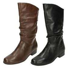Leather Mid-Calf Pull On Solid Shoes for Women