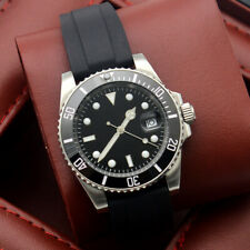 Luxury 40MM black dial luminous date automatic watch men's rubber strap military